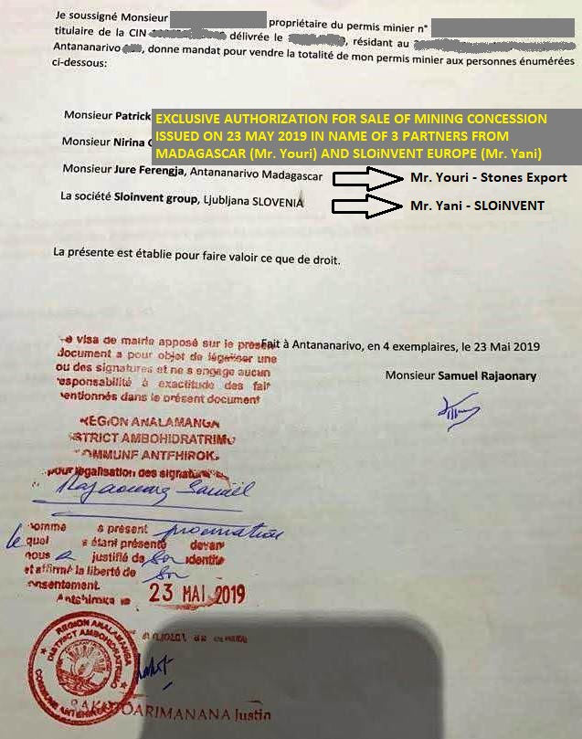 001 CONCESSION 23 MAY 2019 Authorization (Mandat de Vente)